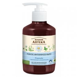 Нежное жидкое мыло для интимной гигиены с ромашкой Лекарственное 370мл,  Зеленая аптека косметика Эльфа